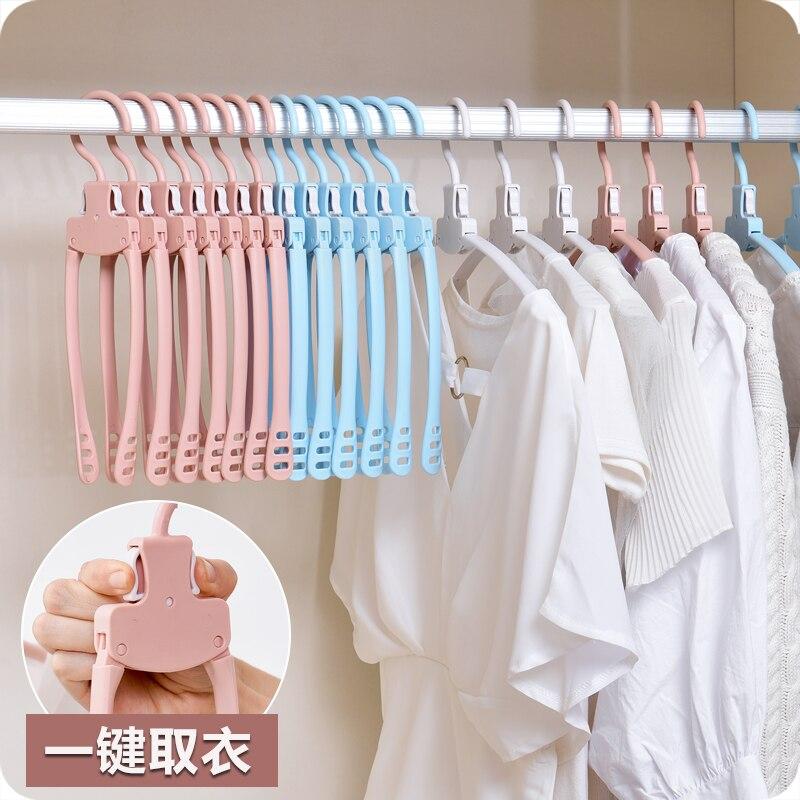 5pcs Portable Plastic Folding Clothing Coat Socks Hanger
