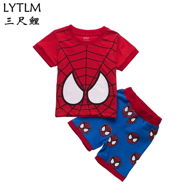 76261437f56 LYTLM Amazing Spiderman Costume Summer Children Clothing Sets Cartoon Kids  Clothes Brands Tracksuit for Boy Pajamas