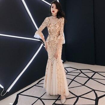 Weiyin Dorado Vino Rojo Vestidos De Noche Largos 2019