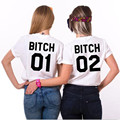 Best Friends T Shirt Bitch 1 Bitch 2 Letter Print Womens T-Shirt Tops Funny Shirts For Lady Black White Casual Tshirt Femme