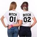 Mejores Amigos Camiseta Perra 1 Perra 2 Letra de la Impresión de Las Mujeres Tapas de la camiseta Camisetas Divertidas Para Dama Negro Blanco Casual Camiseta Femme