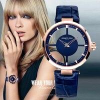 Kenneth Cole Для женщин s часы See through кожа Пряжка кварцевые синий Водонепроницаемый оригинальный Элитный бренд часы для Для женщин KC2643