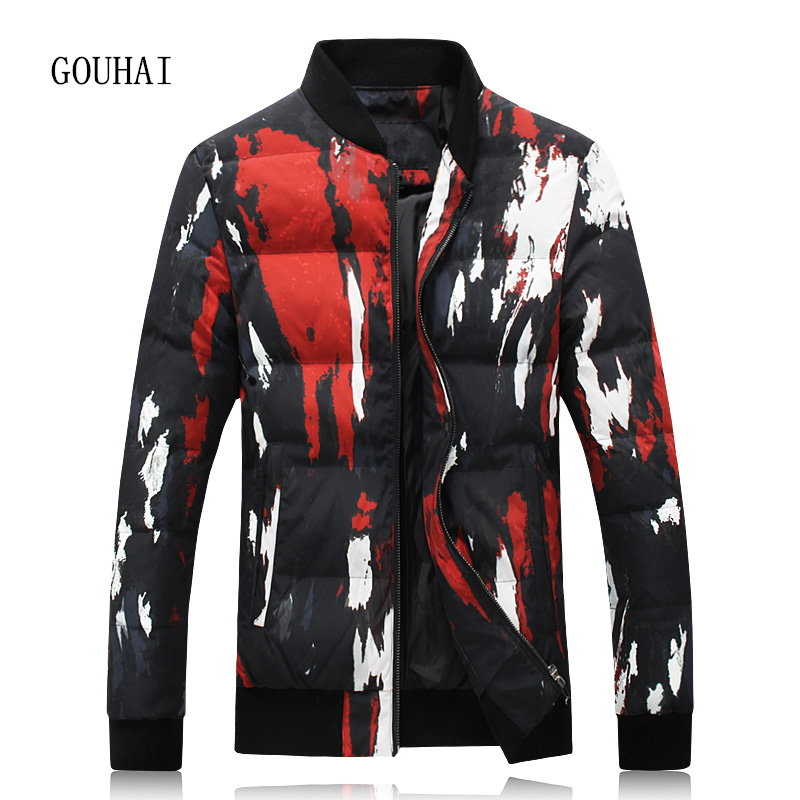 Print Winter Jacket Men White Duck Down Jacket Men Plus Size 4XL 5XL Fashion Short Warm Coat Man Feather Jacket Men Parka Homme цены онлайн