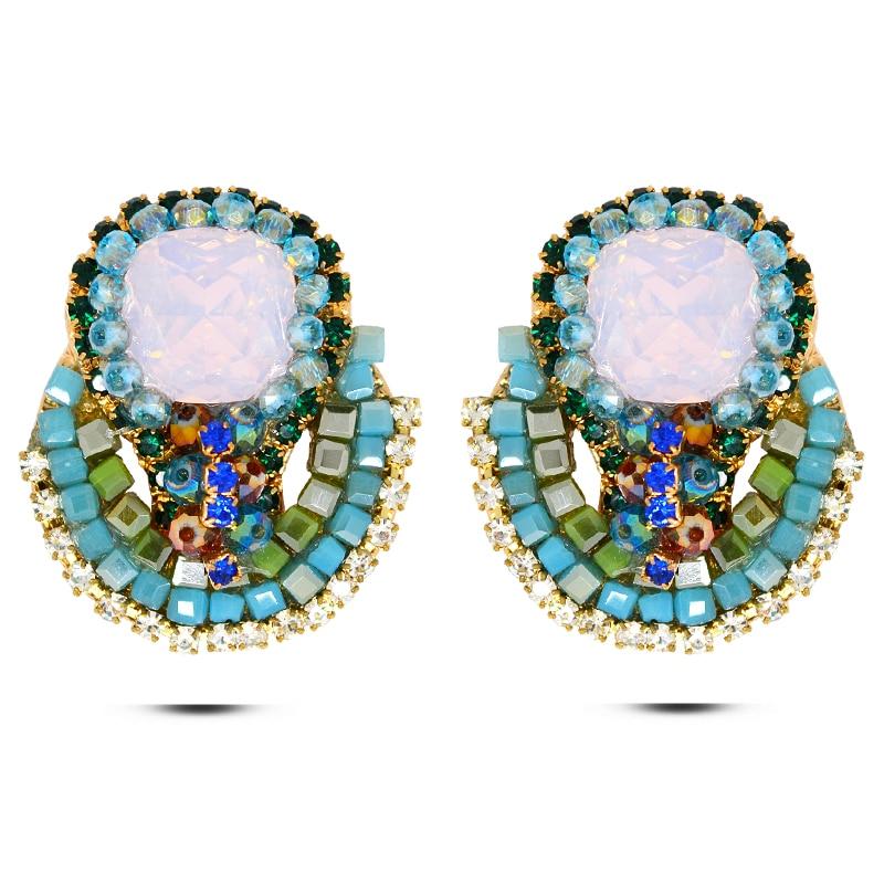 2017 New Fashion Europe America Gold Plat Stud Earring Accessory Female High Quality Bohemia National Long Earring Birthday Gift