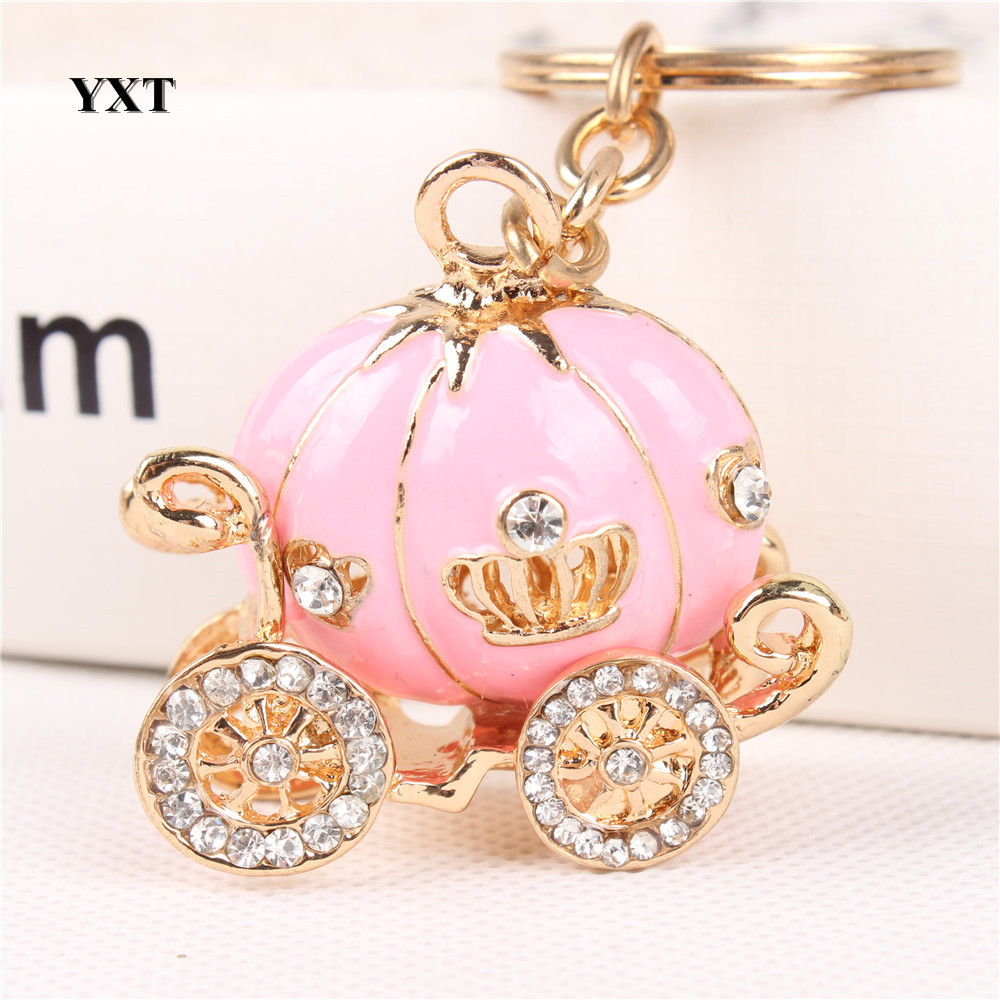 Carriage Pink Pumpkin New Fashion Crystal Pendant Charm Purse Handbag Car Key Keyring Keychain Party Wedding Halloween Gift