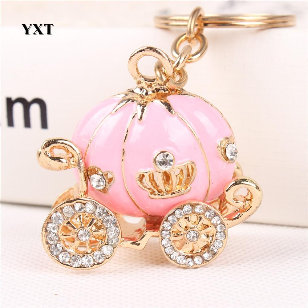 Carriage Pink Pumpkin New Fashion Crystal Pendant Charm Purse Handbag Car Key Keyring Keychain Party Wedding Halloween Gift