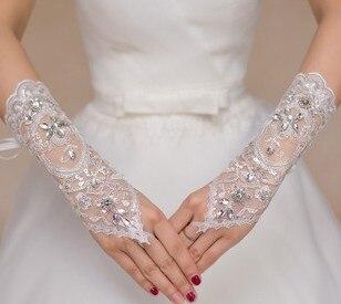2017 Hot Sale Lindo Nupcial Luvas Luvas de Casamento Com Rendas Apliques Contas Lantejoulas Dedo Branco Marfim Luvas de Noiva