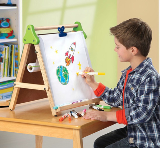 discovery kids wooden 3 in 1 tabletop easel children drawing board children color double sided. Black Bedroom Furniture Sets. Home Design Ideas