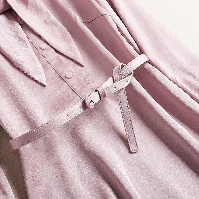 Femmes Arc Printemps Lady Manches Pink Satin Habille Longues 2019 A Ceinture La Courte Office Robe mollet ligne Nouvelle Col Élégant À Rose Mi AAcq1wrFd