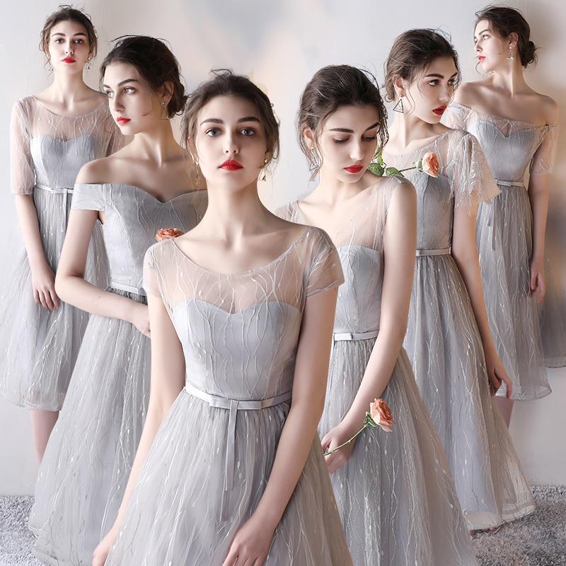 PotN'Patio Elegant Gray Short Bridesmaid Dresses 2017 New Lace Tulle Cap Sleeves Wedding Party Dress