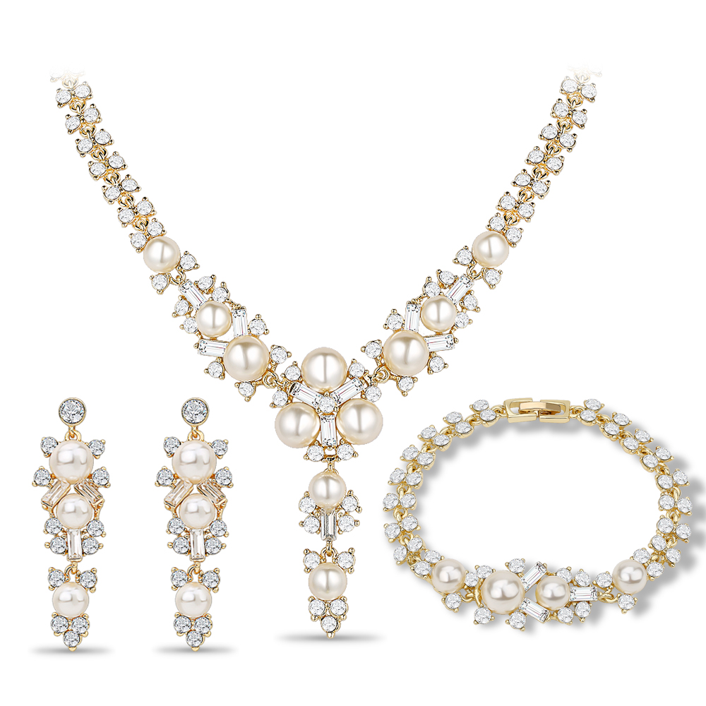 цены Women Wedding Dress Accessories Long Jewelry Sets Imitation Pearl Necklace Earrings Set African Beads Bridal Party