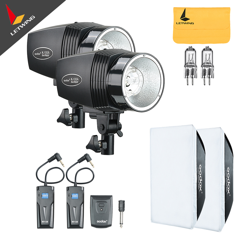 2x Godox 180W Photo Studio Strobe Flash Light Head with Trigger & Softbox & Spare Modeling Lamp 220V only