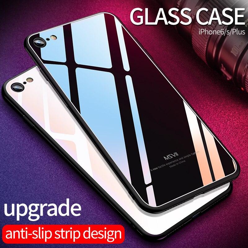 MSVII für iPhone8 Glas Fall für iPhone 8 Fällen für iPhone 8 7 Plus Luxus Schutzhülle Zurück Abdeckung für iPhone X 6 6 s Stoßfest