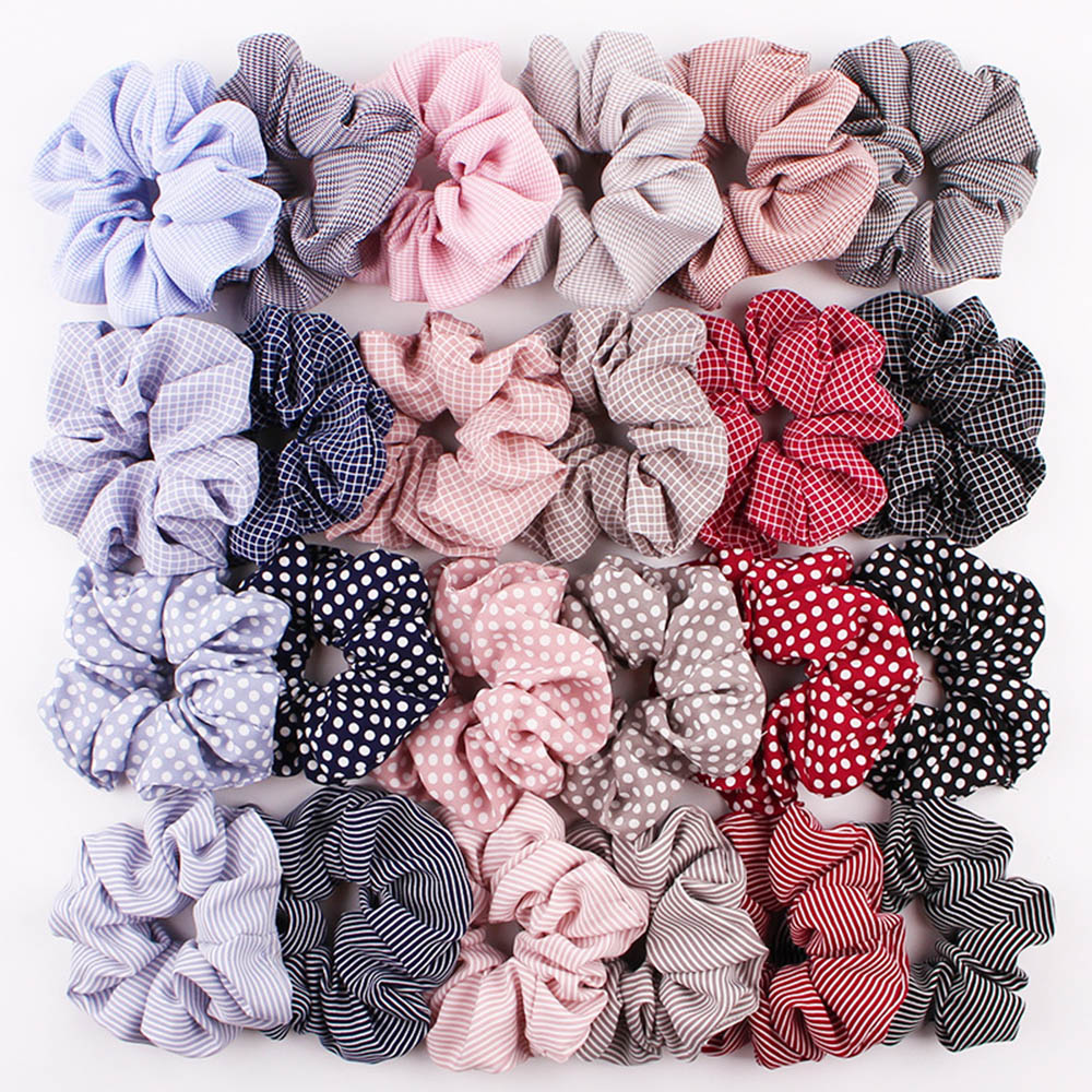 1 PC Dots Grid Vintage Ponytail Holders Rubber Band Girl Ribbon Gum Headdress Scrunchies Elastic Hair Band Women Hair Rope Ring