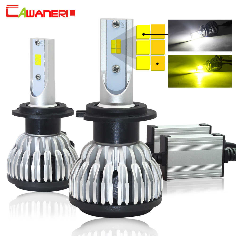 Cawanerl H1 H4 H7 H8 H9 H11 9005 9006 LED Headlight Lamp Double Color 3000K + 6000K 72W 7600LM Per Set Car Headlamp Fog Light