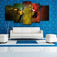 Modular Canvas Poster Frame Living Room HD Printed Pictures 5 Panels Animal Flying Parrots Modern Wall Art Home Decor Painting