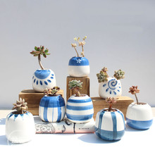 8pcs/set Mini Ceramic Blue Hand Painted Flower Pot Bonsai Small Pots for Flowers Succulent Planter Garden Balcony Decoration