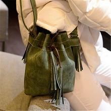 2016 winter mode vintage quaste kordelzug peeling handtasche der frauen kleine taschen eimer tasche umhängetasche umhängetasche