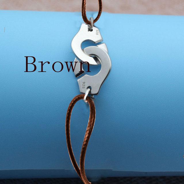 Браслет Menotte Франция Париж ювелирные изделия 925 стерлингового серебра браслет наручники для женщин с веревкой 925 Серебряный кулон Веревка Браслет - Окраска металла: Brown