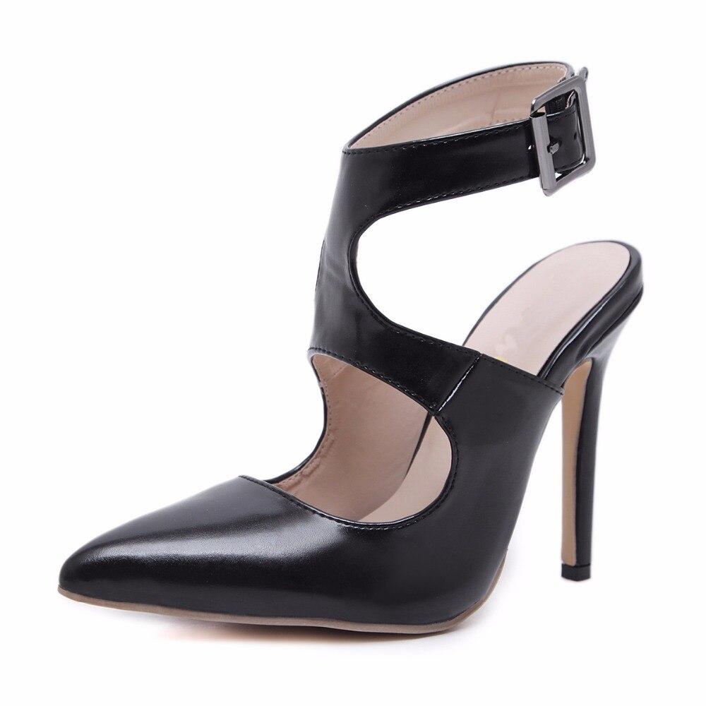 Cuero Pu 12 Talones Correa Mujeres Sexy De Sandalias Las Hebilla Señaló Zapatos Tacón Bombas Fino Los Toe Altos Tacones Cm Señoras Otoño La wvqxTH8H