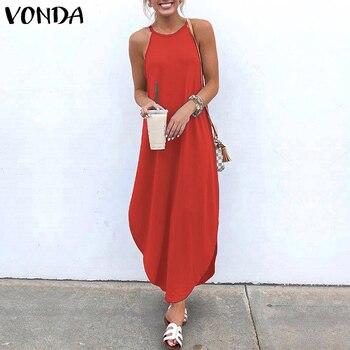 VONDA Women Dress 2019 Summer Sexy Strap Sleeveless Irregular Party Maxi Long Dresses Female Casual Loose Plus Size Vestidos 4