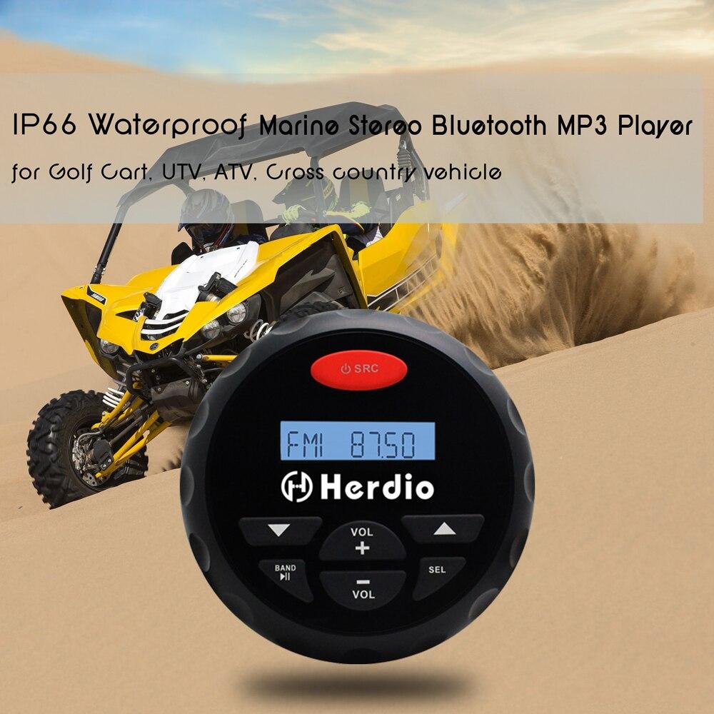 Motorcycle Marine Car Radio FM AM Bluetooth MP3 AUX USB+Waterproof Compact Speakers for BOAT SPA ATV UTV RZR+FM/AM Radio Antenna