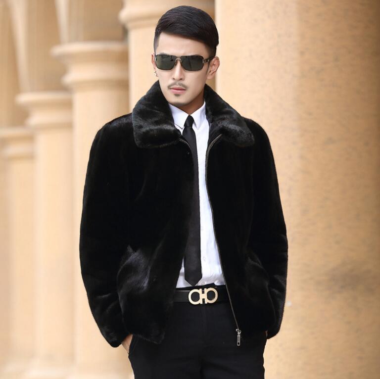 Faux mink leather jacket mens autumn winter thicken warm fur leather coat men long sleeve jackets jaqueta de couro fashion black