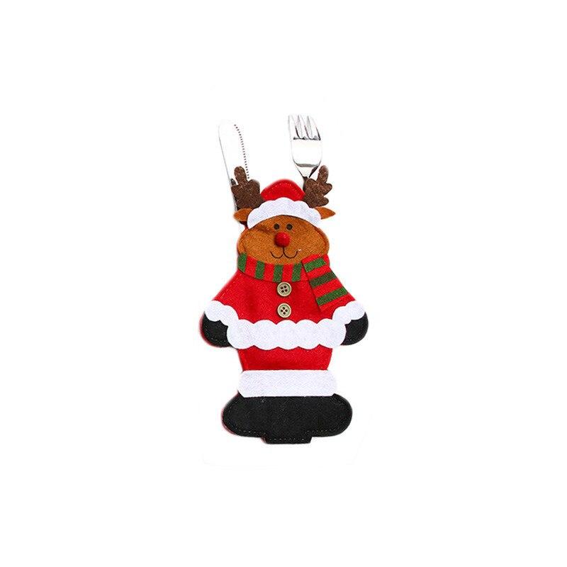 Шляпа Санты, олень, Рождество, Год, карманная вилка, нож, столовые приборы, держатель, сумка для дома, вечерние украшения стола, ужина, столовые приборы 62253 - Цвет: F