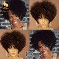 Corto Pelucas de Cabello Humano Rizado Rizado Encaje Completo Pelucas de Cabello Humano para Las Mujeres Negras Virgen Brasileña Del Frente Del Cordón Pelucas Rizadas Del Pelo Humano