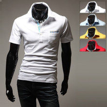 Brand New Men's Turn Down Collar Casual Shirt Social Solid Color Polo Shirt Short Sleeve