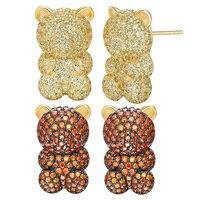 925 Sterling Silver Gummy Bear Stud Earrings Cute Colorful Candy Zircon Animals Earrings Women Fashion Ear Jewelry Romantic Gift
