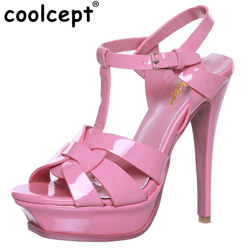 Coolcept T-strap quality genuine leather high heel platform sandals women sexy footwear fashion lady shoes hot sale 33-40 coolcept free shipping high heel shoes platform women sexy bowtie footwear fashion p11575 hot sale eur size 34 43