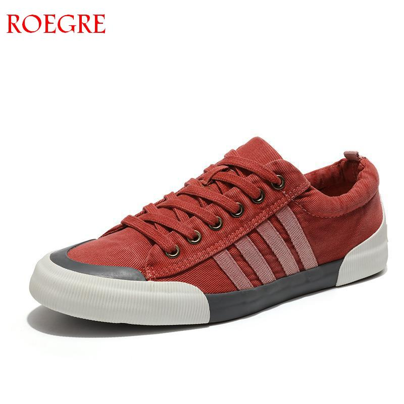ROEGRE Canvas Shoes Men Casual Shoes Breathable Wear-resistant Shoes Comfortable Round Toe Lace-up Flat Shoes  Zapatos Hombre
