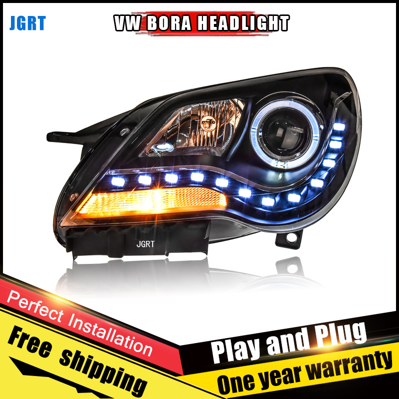 2PCS Car Style LED headlights for VW BORA 2008-2012 for BORA head lamp LED DRL Lens Double Beam H7 HID Xenon bi xenon lens hireno headlamp for 2010 2012 kia sorento headlight assembly led drl angel lens double beam hid xenon 2pcs