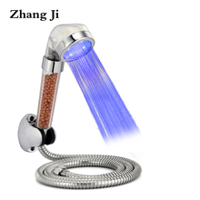 LED shower head sets  temperature control 3 color light showerhead Stainless steel hose+Chrome ABS holder ZJ089