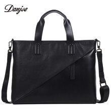 DANJUE Handbag Men Genuine Leather Male Briefcase Trendy Style Computer Laptop Bag Men Classic Black Man Shoulder Bag