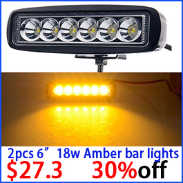 18W 6inch Amber Single Row Led Light Bar Yellow Led Work Light Striplights Highlight for Indicators Motorcycle 4WD Driving Car