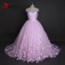 Liyatt Pink Wedding Dresses 2017 Real Photo Sweetherat Ball Gown 3D Buttflies Bridal Wedding Dress Bridal Gown Vestido de Novia
