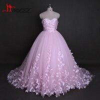 Liyatt Pink Long Wedding Dresses 2017 Real Photos Sweetherat Ball Gown 3D Buttflies Bridal Wedding Dress