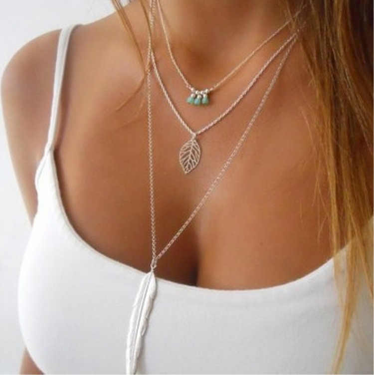 Tenande Bohemian Natural Stone Beads Hearts Birds Leaves Chain Necklaces & Pendants for Women Vintage Multi Layer Jewelry Bijoux