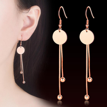 KOFSAC Charm 925 Sterling Silver Drop Earring For Women Jewelry Small Round Card Tassel Rose Gold Lady Party Accessories
