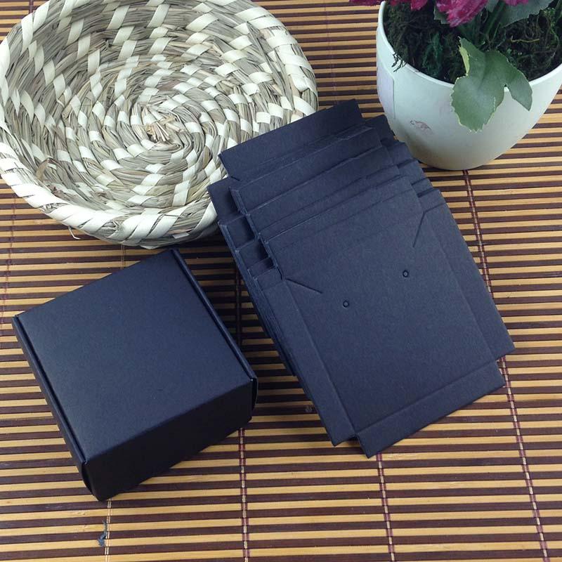 1Lot =100 box +100 pcs inner Card 65x65x30mm White/Black/Kraft Necklace /Earring BOX BOXEarring /Necklace /Ring /Jewelry Set