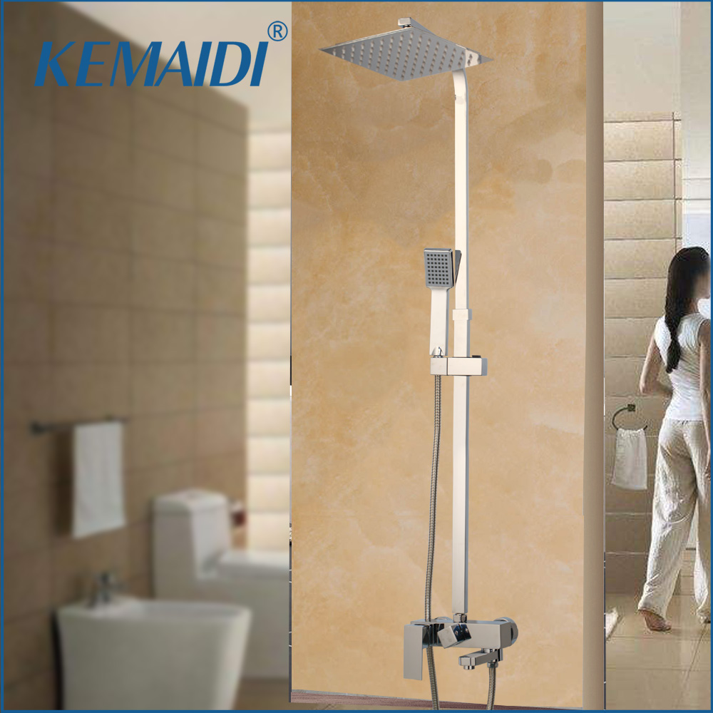 KEMAIDI Rainfall Bathroom Shower Faucets Sets Square Chrome Polished Ultra thin 8 10 12 16 Inch