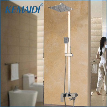 KEMAIDI  Rainfall Bathroom Shower Faucets Sets Square Chrome Polished Ultra-thin 8,10,12,16 Inch Shower heads Stainless Steel