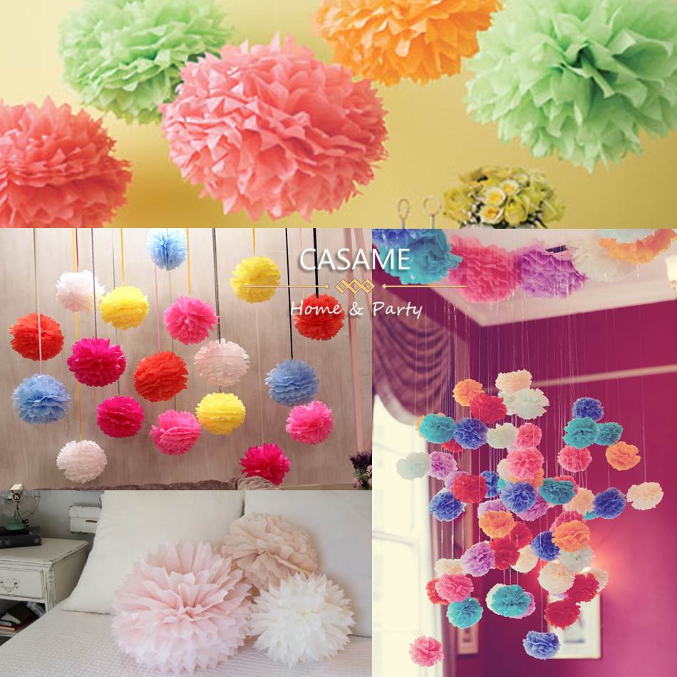 10cm 15cm 20cm 25cm wedding decorative paper pompoms pom poms 4 6 8 10 inch balls - Pom Pom Decorations