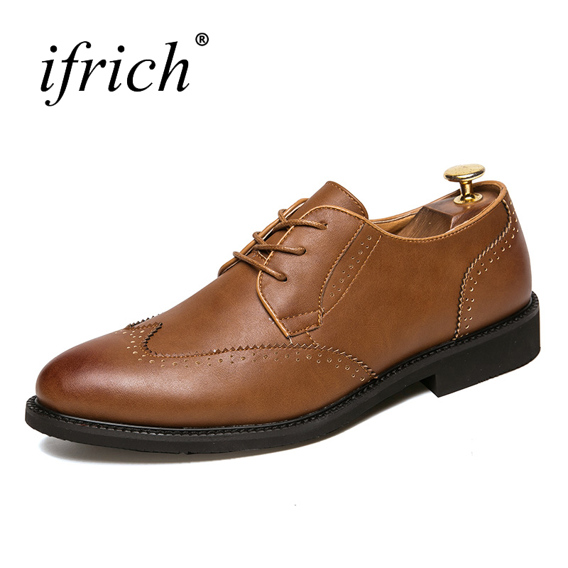 Ifrich New Arrival Men Dress Leather Formal Shoes Black Brown Men Luxury Shoes Comfortable Male Wedding Dress Flat Shoes
