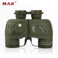 10x50 Binoculars Navy Telescope With Compass Waterproof Fogproof HD Rangefinder Reticle Illuminant Night Vision Hunting