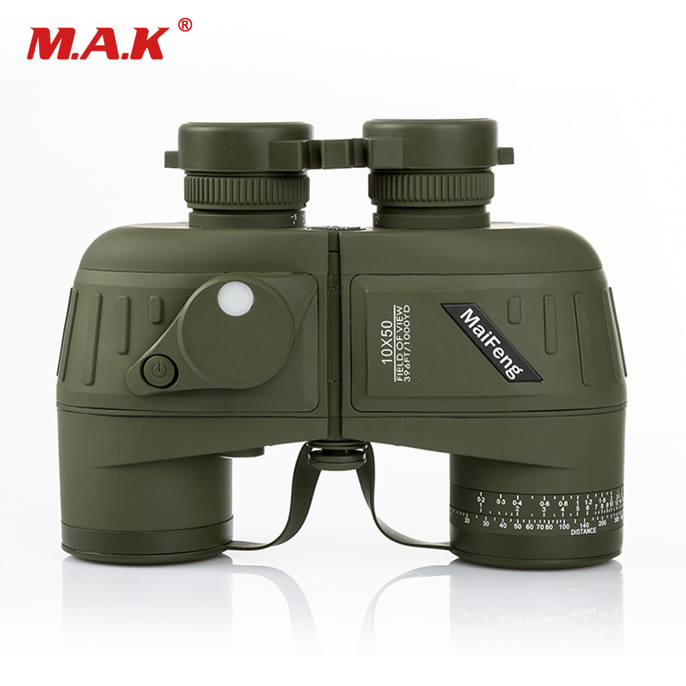 цены 10x50 Binoculars Navy Telescope with Compass Waterproof Fogproof HD Rangefinder Reticle Illuminant Night Vision Hunting