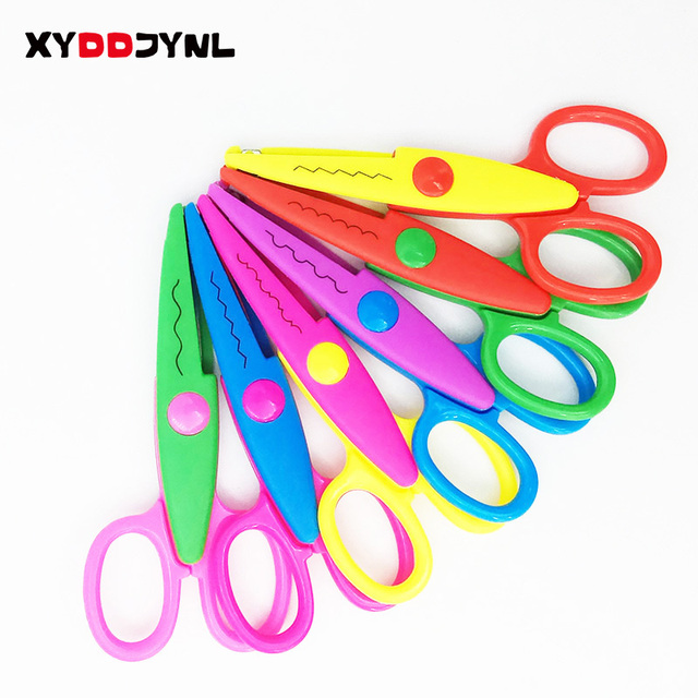 XYDDJYNL 6pcs DIY Craft Decoating Tool Laciness Scissors DIY Scrapbook Paper Diary Decoration Kid Safety Shears Album Handmade
