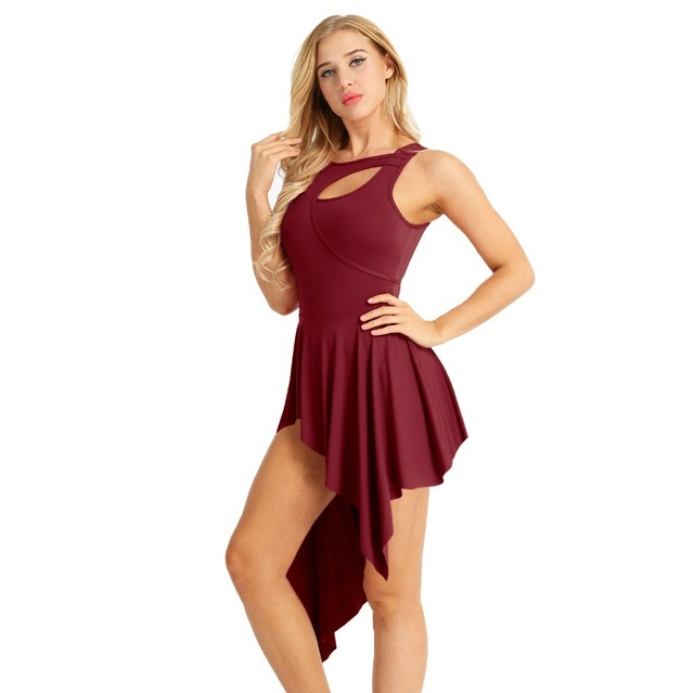 Sleeveless New Cut Out High Low Leotard Dance Dress Professional Ballet Dancing Dress for Stage Performance